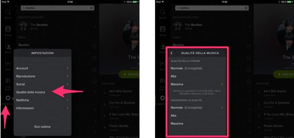Spotify: come modificare qualità audio