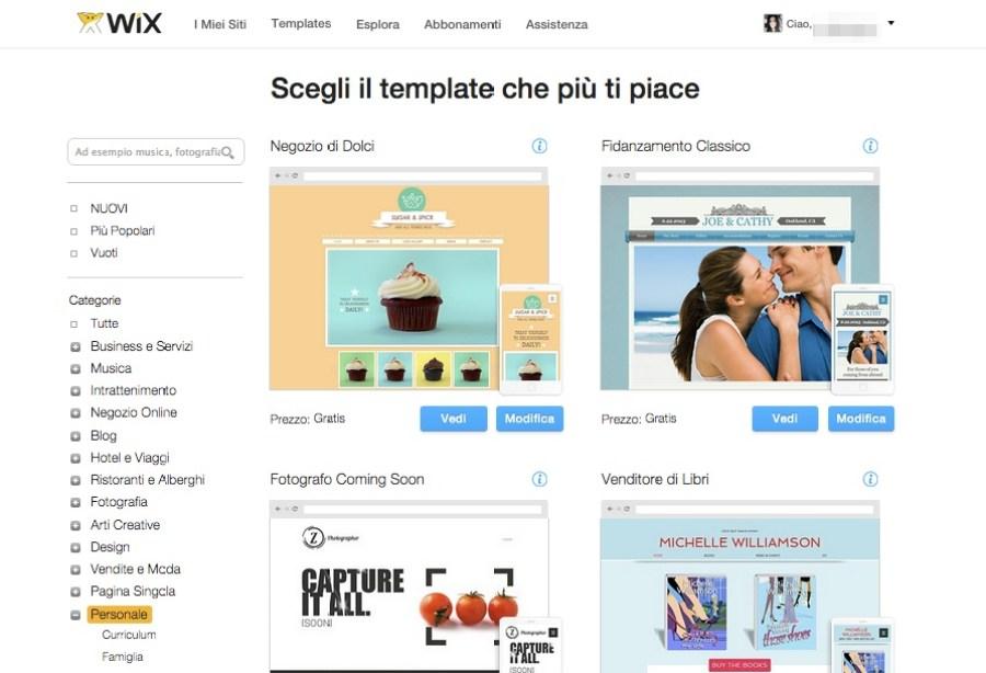 Come creare un sito web con Wix: scegli il template
