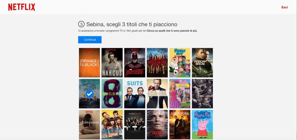 Netflix: indica i tuoi gusti