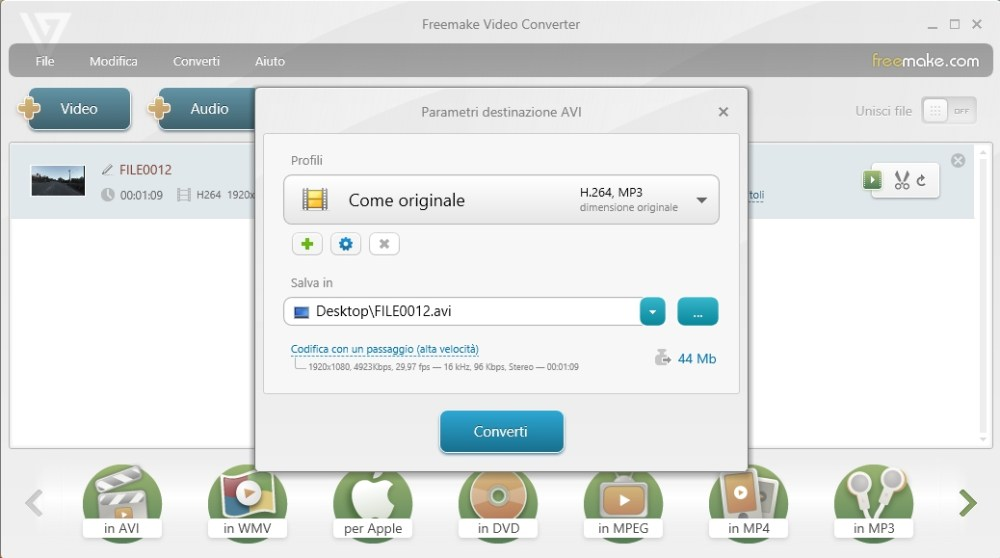 Come convertire un file MOV in AVI: secondo passo