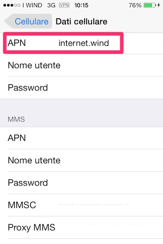 Inserisci l'APN in Dati Cellulare e in Hotspot personale