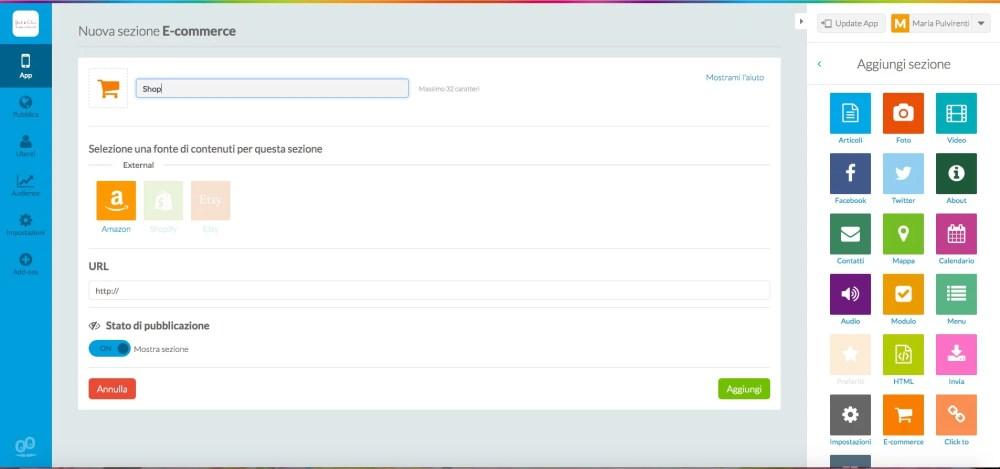 GoodBarber: crea le sezioni della tua app