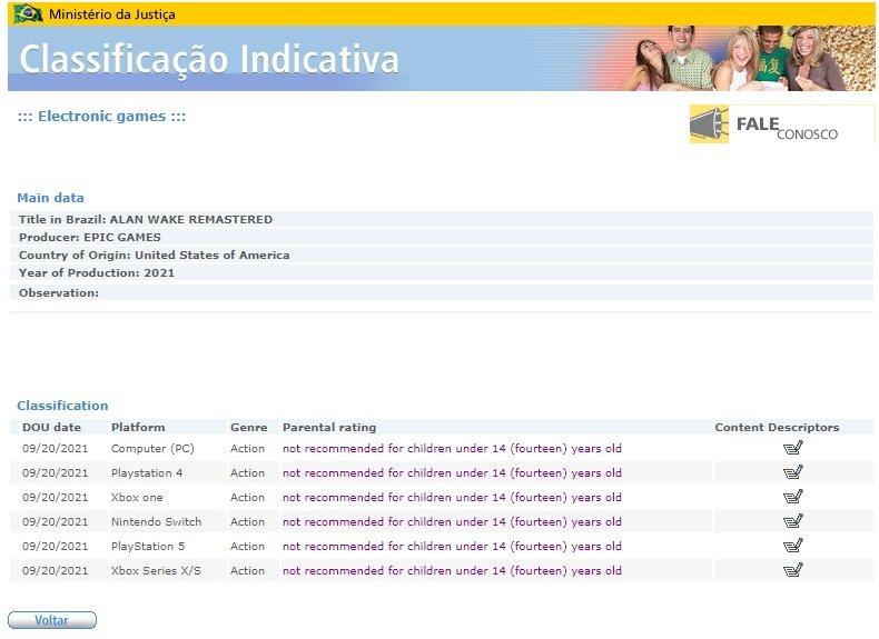 Liste brésilienne d'Alan Wake