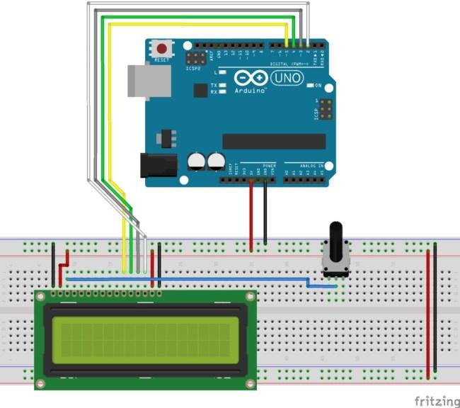 LCD 16X2 con Arduino - Conexión del bus de datos