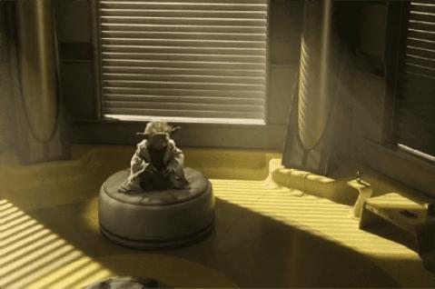 Yoda meditating in the Jedi Temple