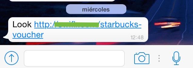 mensaje de Starbucks se difunde por Whatsapp
