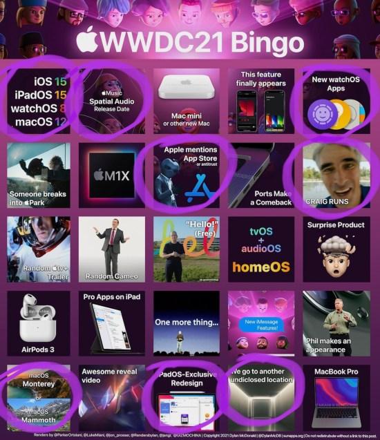 WWDC2021 BINGO Card by @DylanMcD8
