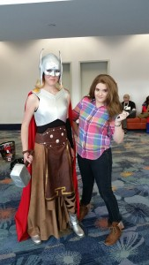 Editor Amy [Thor] poses with a Jane Foster cosplayer.