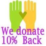 we donate 10% back