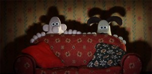 Wallace and Gromit hiding in the dark