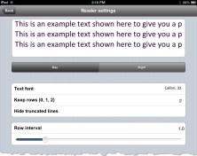 Reader Settings of uBooks xl on the iPad