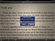 Progress Popup in Tomes for iPad