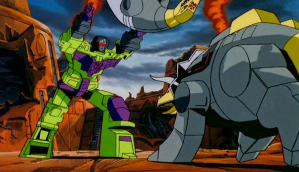 Transformers Devastator Fighting Dinobots
