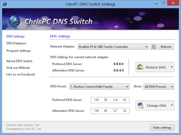 ChrisPC DNS Switch, cambiare i DNS in uso in un click