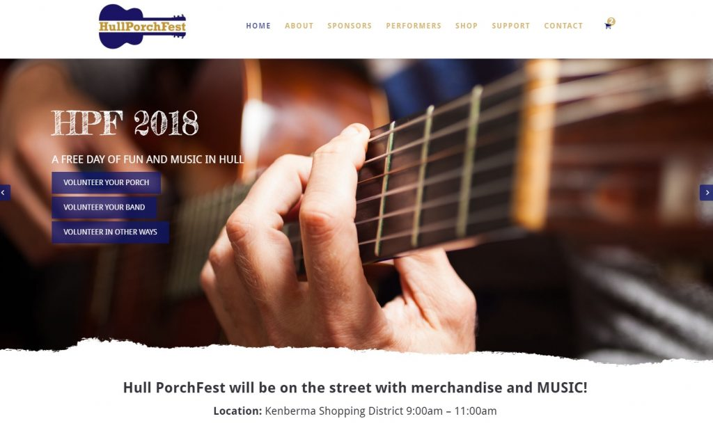 Hull PorchFest 2018 Homepage Launch
