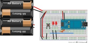 A Fritzing diagram of a breadboard layout with an Arduino Nano.