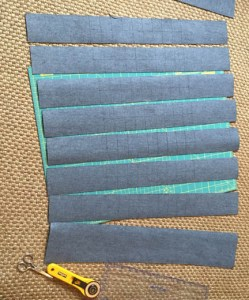 """Cut the vinyl into six 3"""" marked strips.  You will need one additional 3"""" strip and one 2.5"""" strip."""