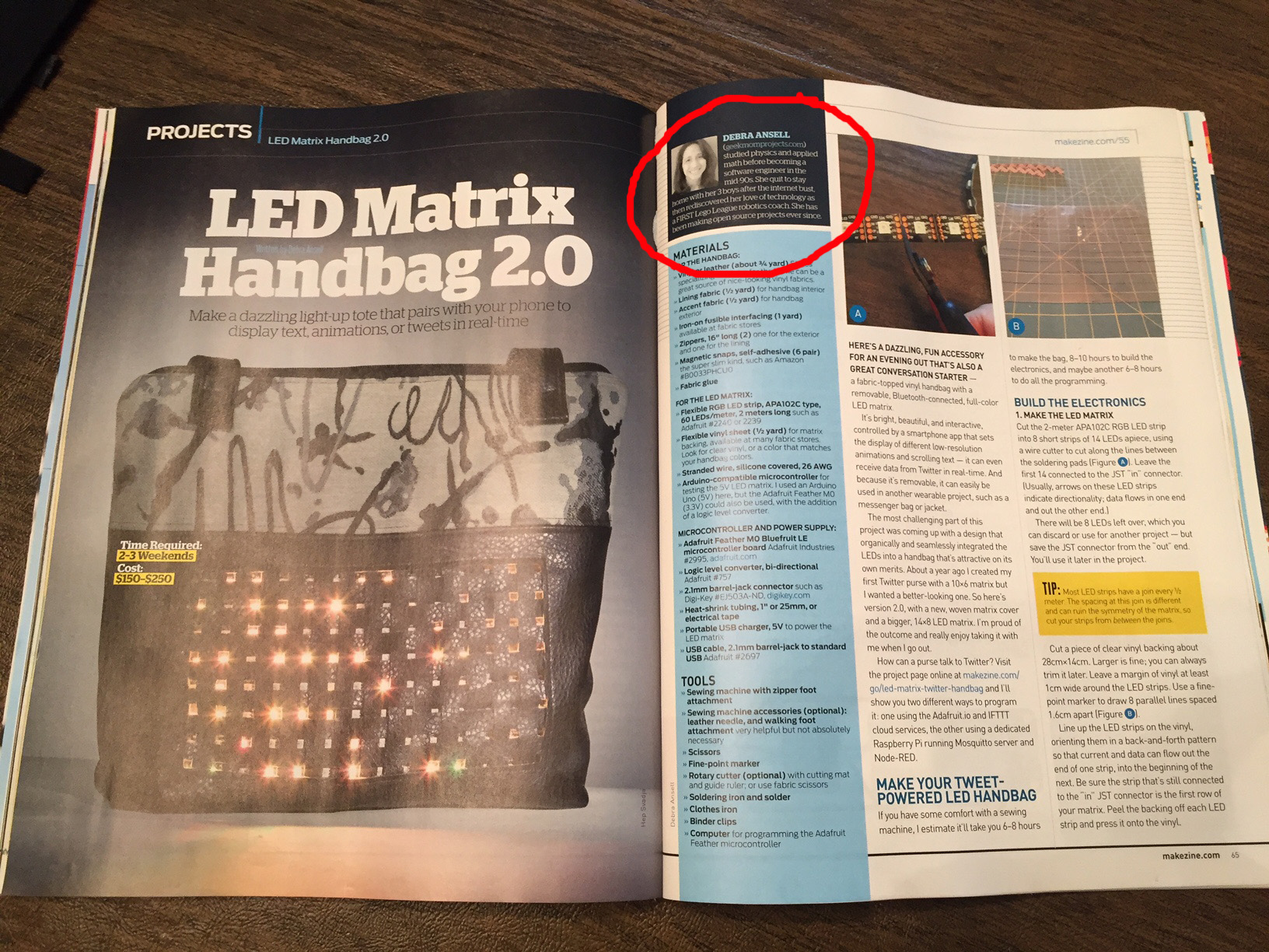 Geek Mom Projects Techie Ideas To Do With Or Without Kids March 2013electronics Project Circuts My Led Matrix Handbag Is Featured In This Months Make Magazine Vol 55 There Also A Link The Article Online