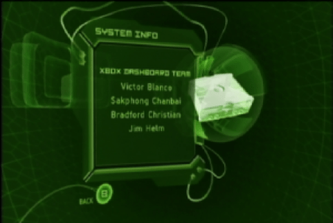 XboxEaster Egg, featuring the Development Team.