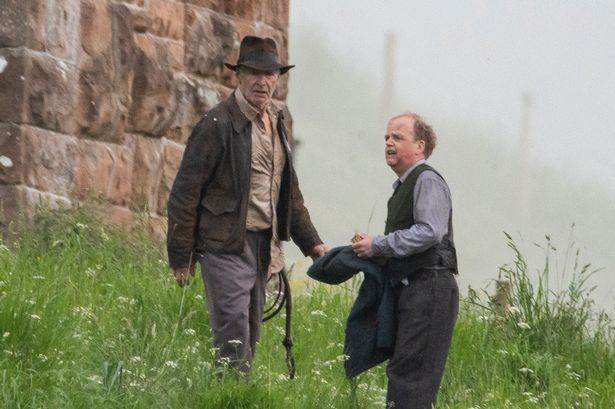 Ford on the set of Indiana Jones 5