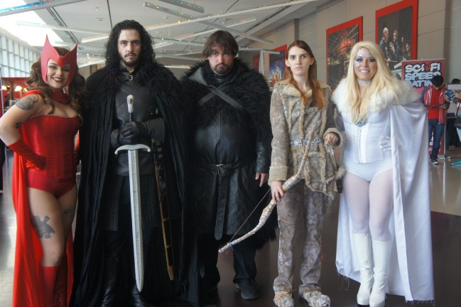 A mix of cosplayers stand together.