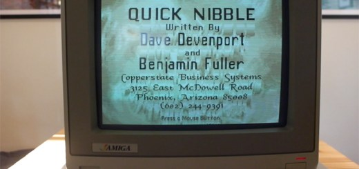 "Title screen for ""Quick Nibble"", a copy program for the Commodore Amiga."