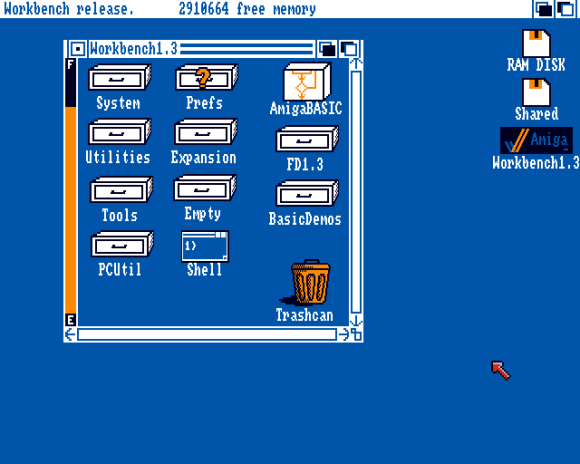 Workbench 1.3, running on Amiga Forever 7.