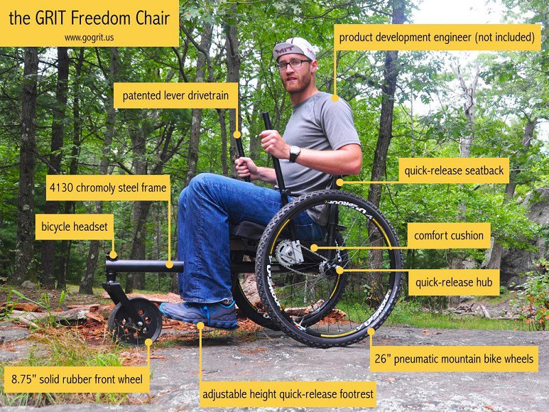 A closer look at the components of the Freedom Chair