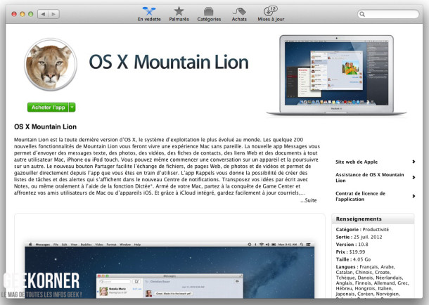 Télécharger Mountain Lion - Geekorner - - 02