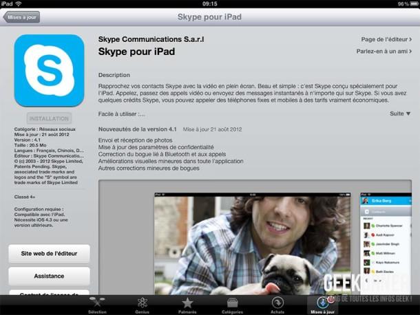 Skype iPad Transfert Photos - Geekorner - 01