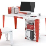 meubles meccano lego table chaise salon construction