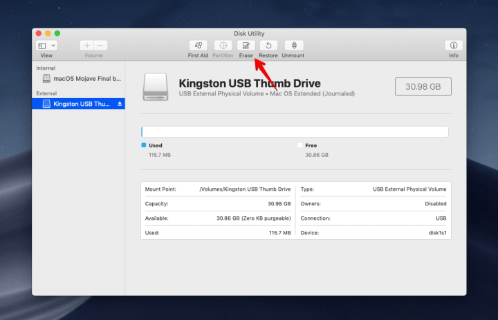 Disk Utility - Erase