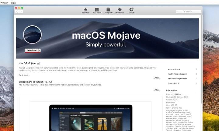macOS Mojave on App Store