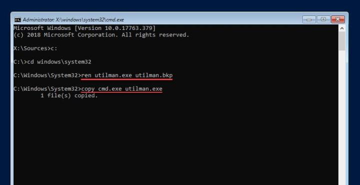 Replace Utility Manager with cmd.exe