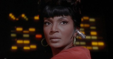 Uhura with Bluetooth earpiece
