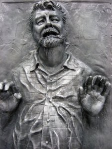 It's much harder to stick your foot in your mouth when you're frozen in Carbonite.