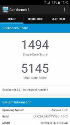 Galaxy S6 Edge Geekbench