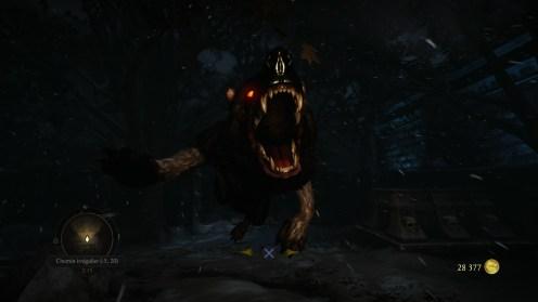 Un loup attaquant dans la Krypte