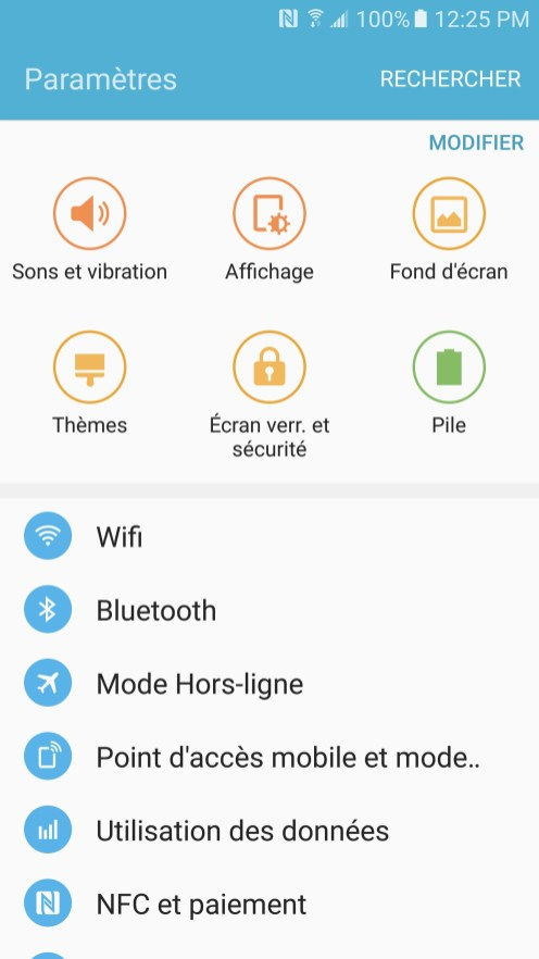 Samsung Galaxy S7 - Parametres
