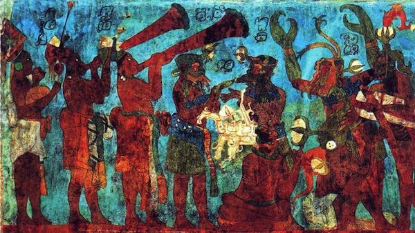 From the Bonampak Mural. Image via Wikipedia, public domain.
