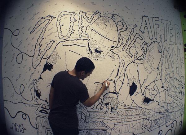 Daft Zombie\' Marker Wall Art (Photos)