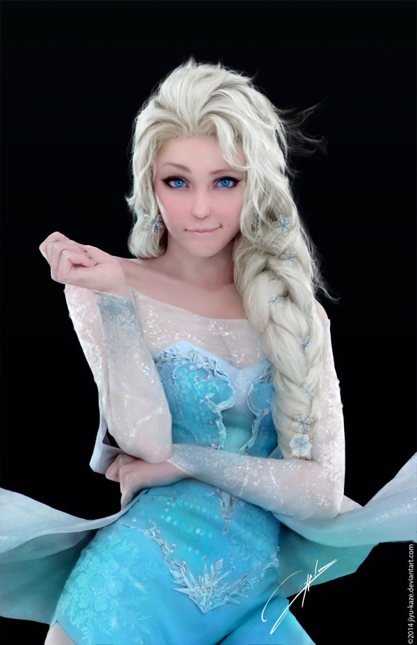 Believe It Or Not This Is Actually A Digital Drawing And Photo Of Cosplayer Dressed As Elsa From Frozen Amazing Isnt