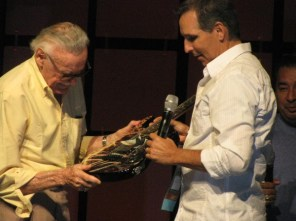 The Stan Lee panel was moderated by Todd MacFarlane. Lee presented him with a (fan's?) Spider-Man-painted guitar that he signed.