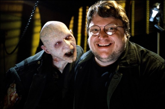 "Guillermo del Toro and one of his vampire creations from ""Blade II."""