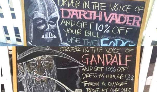 Food Stand Offers Geeky and Hilarious Way to Get a Discount [Pics]
