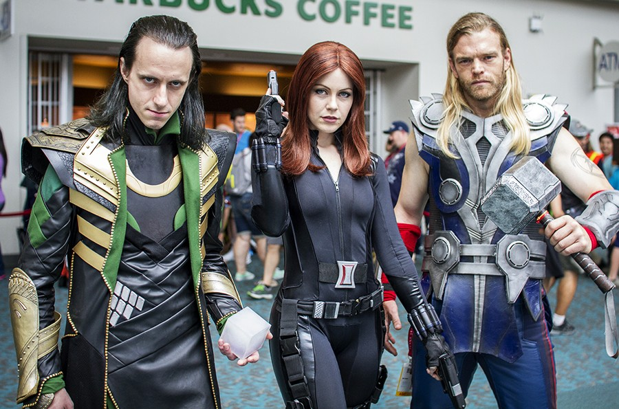 Loki, Black Widow, Thor - SDCC 2014 - Geeks are Sexy
