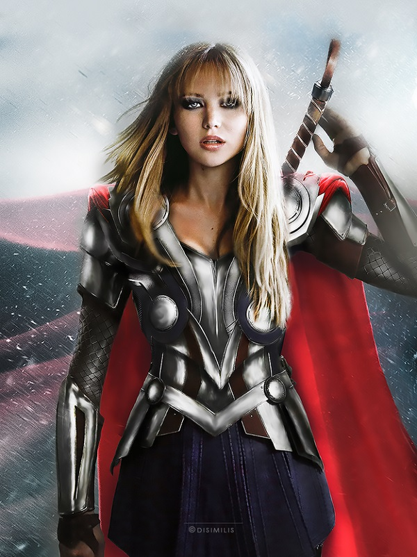 Jennifer Lawrence as Thor.