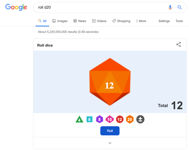 Roll a D20 with Google