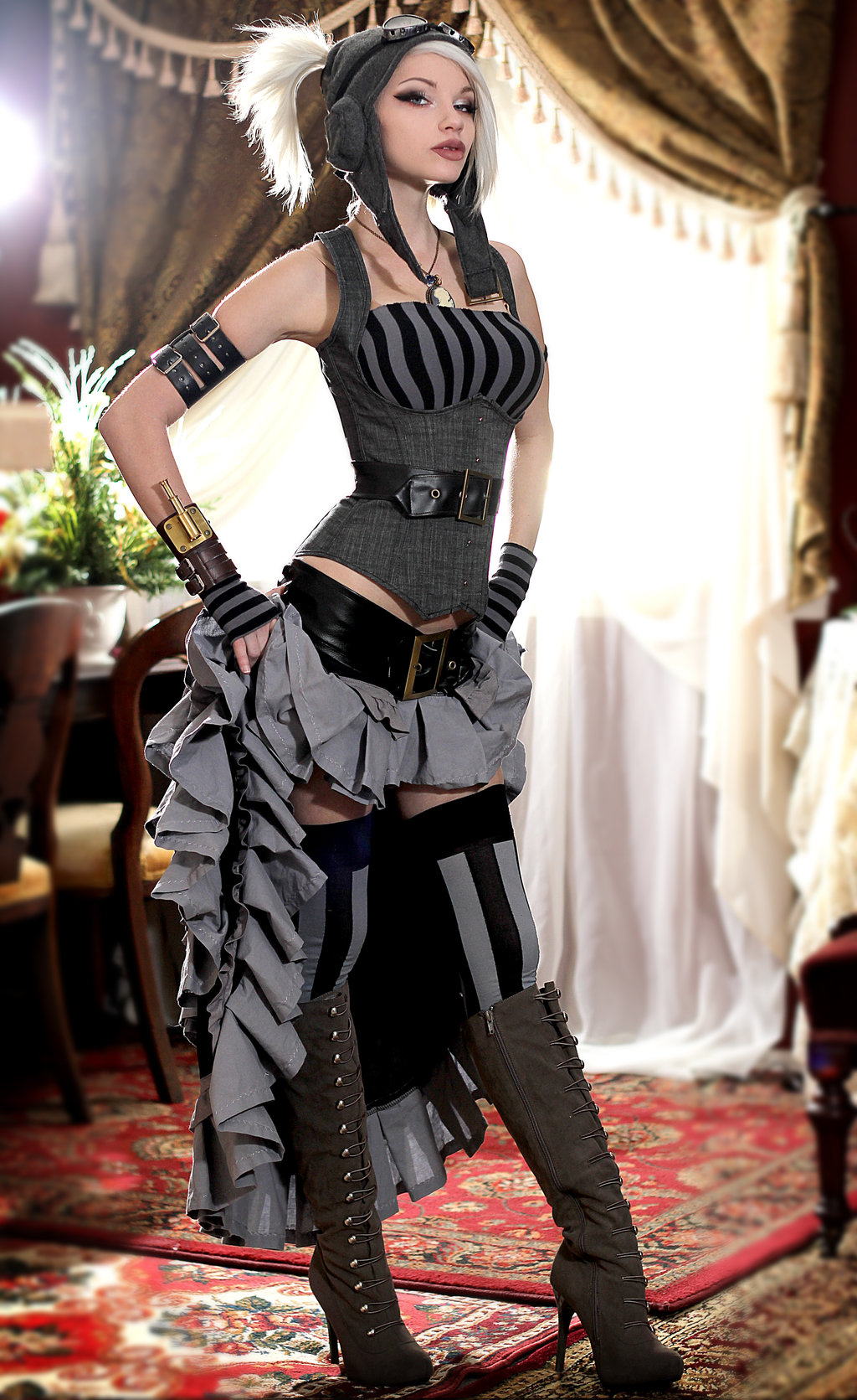 Kato Steampunk Dress Kato in Gray Dr...