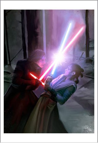 Star Wars Episode VII The Force Awakens Art by Brian Rood Darkness Light Giclee Print
